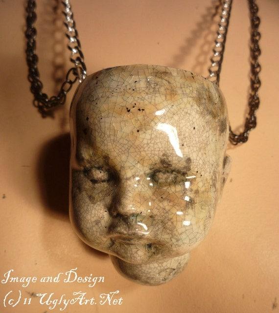 Whole Doll Head Crackled Glaze Necklace by Ugly Shyla