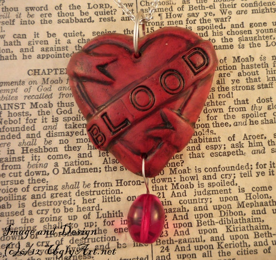 Red BLOOD Tattoo Heart Banner Necklace by Ugly Shyla.