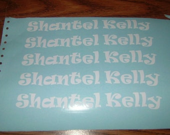 Name Decal - 5 decals - 1 inch high