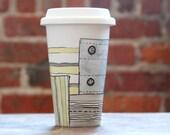 eco-friendly ceramic travel mug - Patchwork