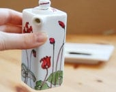 Oil Vinegar Bottle - Cyclamen, Botanical Collection - made to order