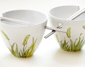 Noodle Bowl Set with Chopsticks - Grass Fields Collection - made to order