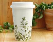 Illustrated Travel Mug Ceramic Eco-Friendly - Shepherd's Purse - made to order