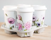 Custom Botanical Design - White Ceramic Eco Friendly Travel Mug Double Walled Porcelain with Lid