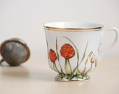 Hand Painted Tea Cup - Shrooms and Grass Collection - ready to ship