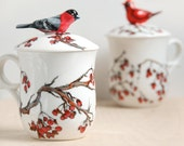 Hand Painted Tea Cup - Love Birds, Bullfinch