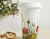 White Ceramic Travel Mug  - Shrooms and Grass Collection