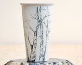 Eco-Friendly Painted Ceramic Travel Mug - Tree Collection