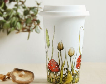 White Ceramic Travel Mug | Shrooms and Grass Collection