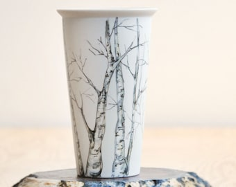 Eco-Friendly Painted Ceramic Travel Mug | Tree Collection