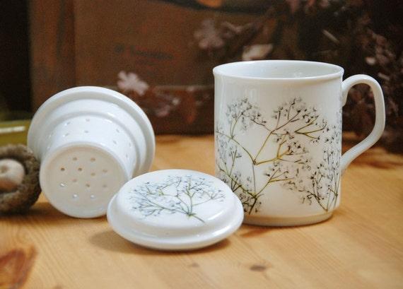 ceramic tea mug with infuser Babys Breath by yevgenia on Etsy