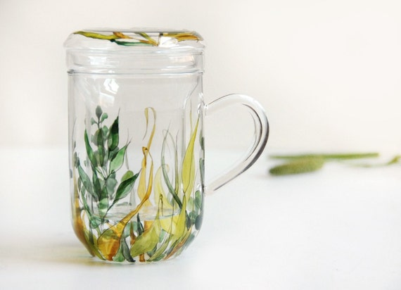 Glass Tea Cup with Infuser and Lid - Grass Fields Collection - ready to ship