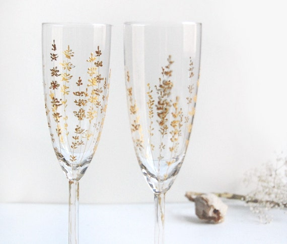 Gold painted Champagne Flutes - Lavender Design- Wedding Collection