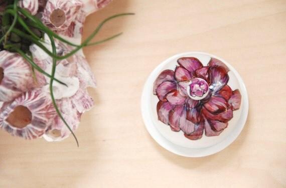 Small Round Ceramic Jewelry Box - Purple Aeonium Purpureum Succulent
