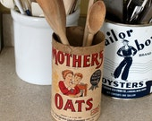 Antique Mother Oats, cardboard canister, kitchen decor, farm house