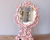 FREE SHIPPING Pink Filigree Vintage Cast Iron Mirror, pastel violet-pink, dressing table