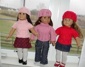 Set of 3 patterns: Doll's Hat & Top/Cardigan sets (PDF PATTERNS)