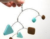 Little Glass Mini Mobile in Turquoise and Brown