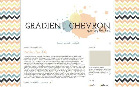 Customizable Pre-Made Blogger Theme- Gradient Cheveron