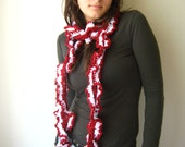 Very Long Red and White Skinny Scarf