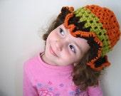 2-3T Children Hat Green Orange and Brown