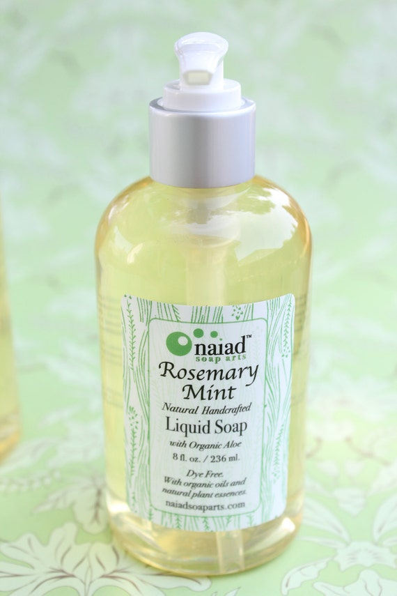 All Natural Rosemary Mint Liquid Soap with Organic Oils