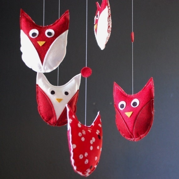 Red and White Hanging Owl Mobile