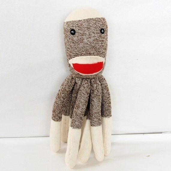 READY to SHIP Gift for Kids Plush Stuffed Octopus Doll Sock Monkey- SOCKTOPUS