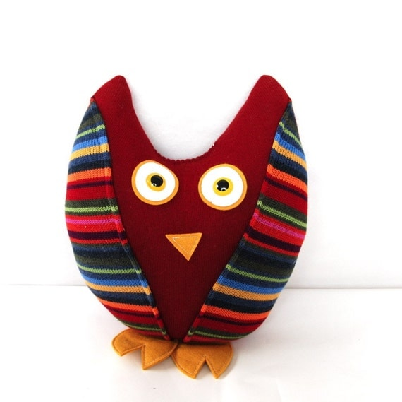 Plush Owl Made From Recycled Sweaters