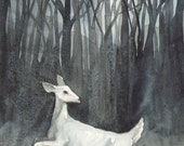 Original Watercolor Deer Painting - Ghost Doe