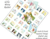 Little White Rabbit Digital Collage Sheet-  One inch Squares - Version 1
