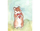 Original Watercolor Hamster Painting -  Hamster with a Heart  - ACEO