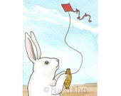 Original Watercolor Rabbit Painting - Kite Flying - ACEO