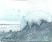 Original Watercolor Seascape Painting - Blue Wave - Watercolor Original