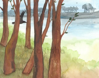 Original  Watercolor Painting - Landscape - Crow in the Trees