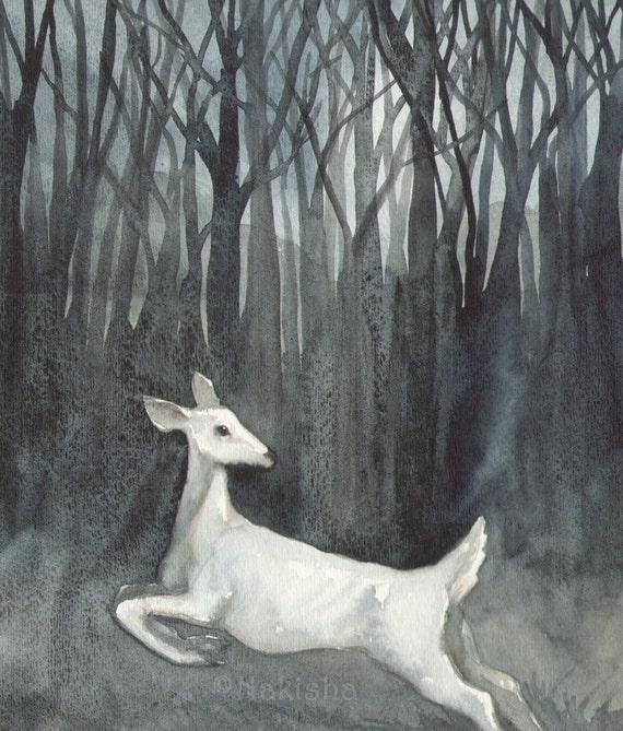 Original Watercolor Deer Painting - Ghost Doe
