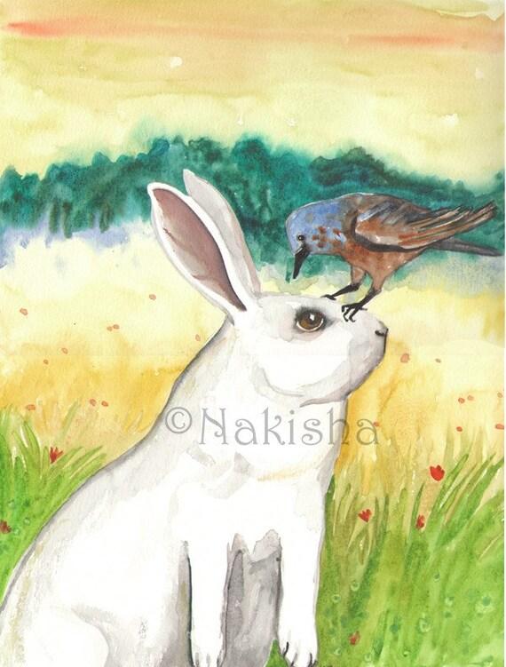 SALE - Original Rabbit Watercolor Painting - Blue Bird