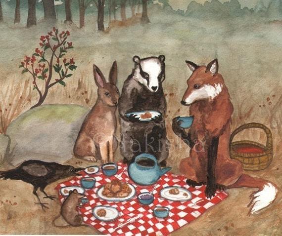 The Fox's Picnic -  Fine Art Print - Small Size