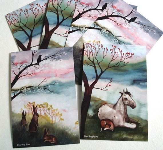Art Postcards - Trees in Spring - Set of Six -LAST SET