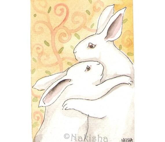 Original Watercolor Rabbit Painting -  Bunny Hug  - ACEO
