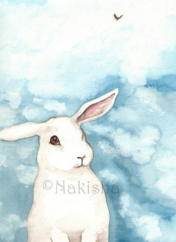 Original Watercolor Rabbit Painting - Little White Rabbit against the Blue Sky