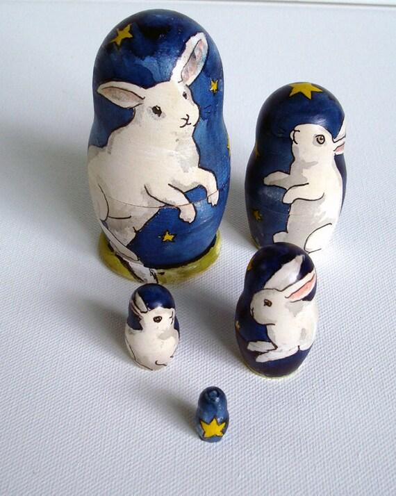 Matryoshka  Rabbits- Starry Night  Bunnies - Nesting Bunny Dolls