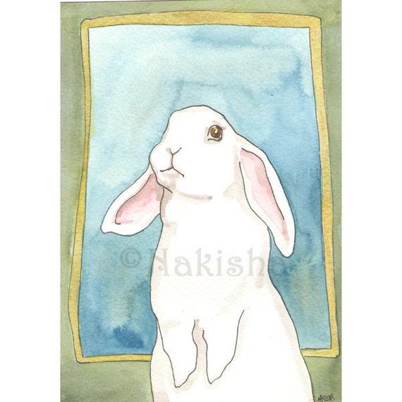 Original  Watercolor Rabbit Painting - Patrick the Lop