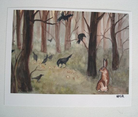 Woodland Art Decor - Breadcrumbs -  Fine Art Rabbit Print - Small Size