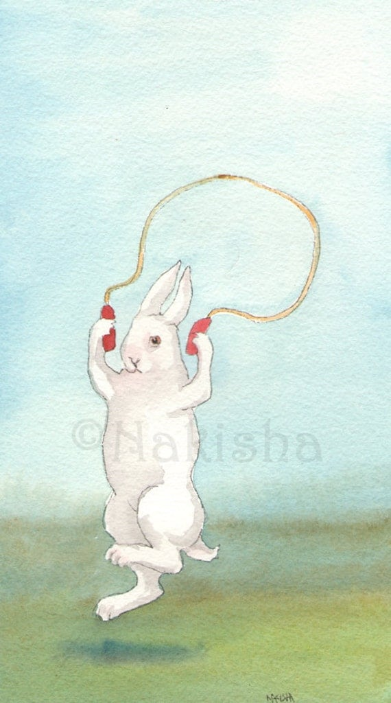 Original Rabbit Art - Jump - Watercolor Animal Painting