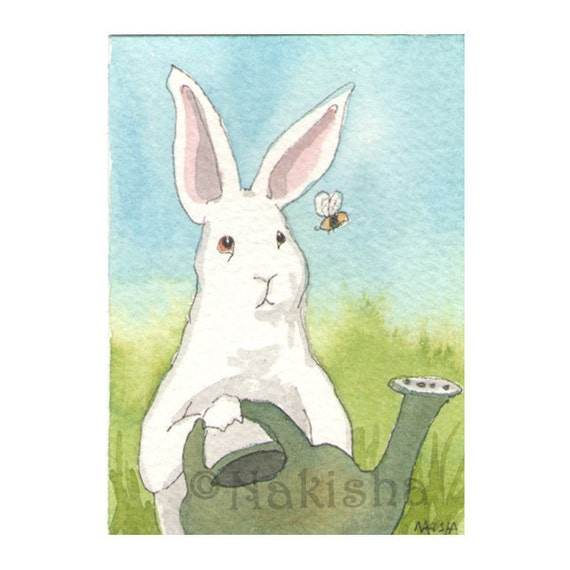 Original Watercolor Rabbit Painting - Hello Bee - ACEO