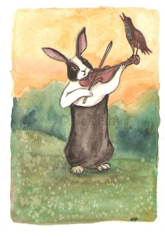 September Duet - Original Watercolor Dutch Rabbit Painting