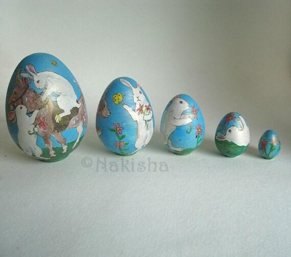 Matryoshka  Rabbits, Goats and Blooms- Nesting Egg Shaped Dolls