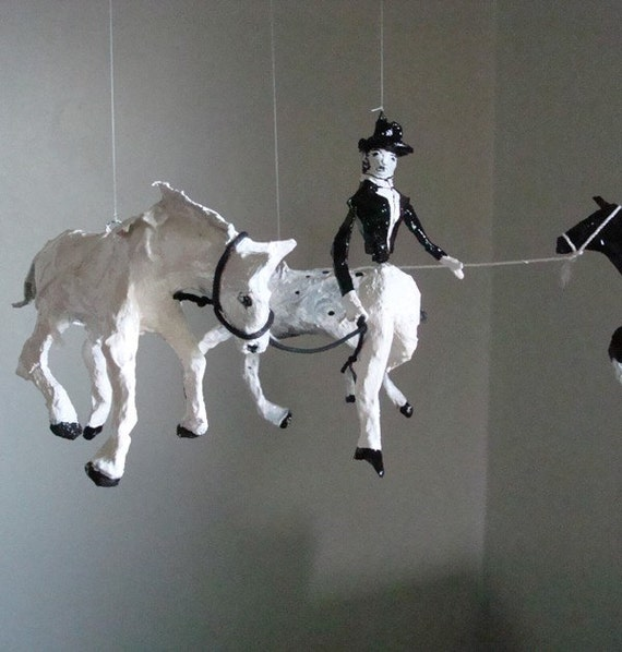 Miss Gigi and her Three Ponies - One of a kind mobile sculpture -Special Price