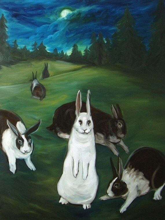 Rabbit Moon- Set of Six Postcard Prints